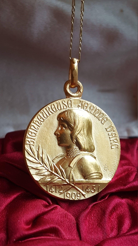 18k gold plated french saint joan of arc medal religious catholic 18k gold plated french saint joan of arc medal religious catholic jewelry st joan of arc warrior saint by sacredbarcelona on etsy aloadofball Gallery