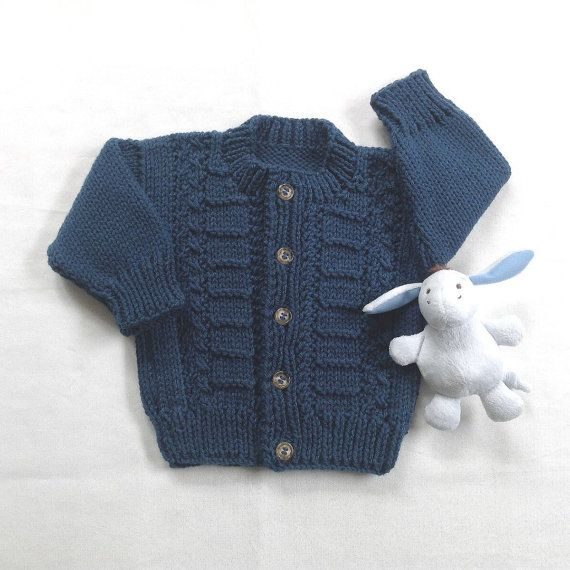 df55999cb Knitted baby cardigan 6 to 12 months Navy blue by LurayKnitwear ...