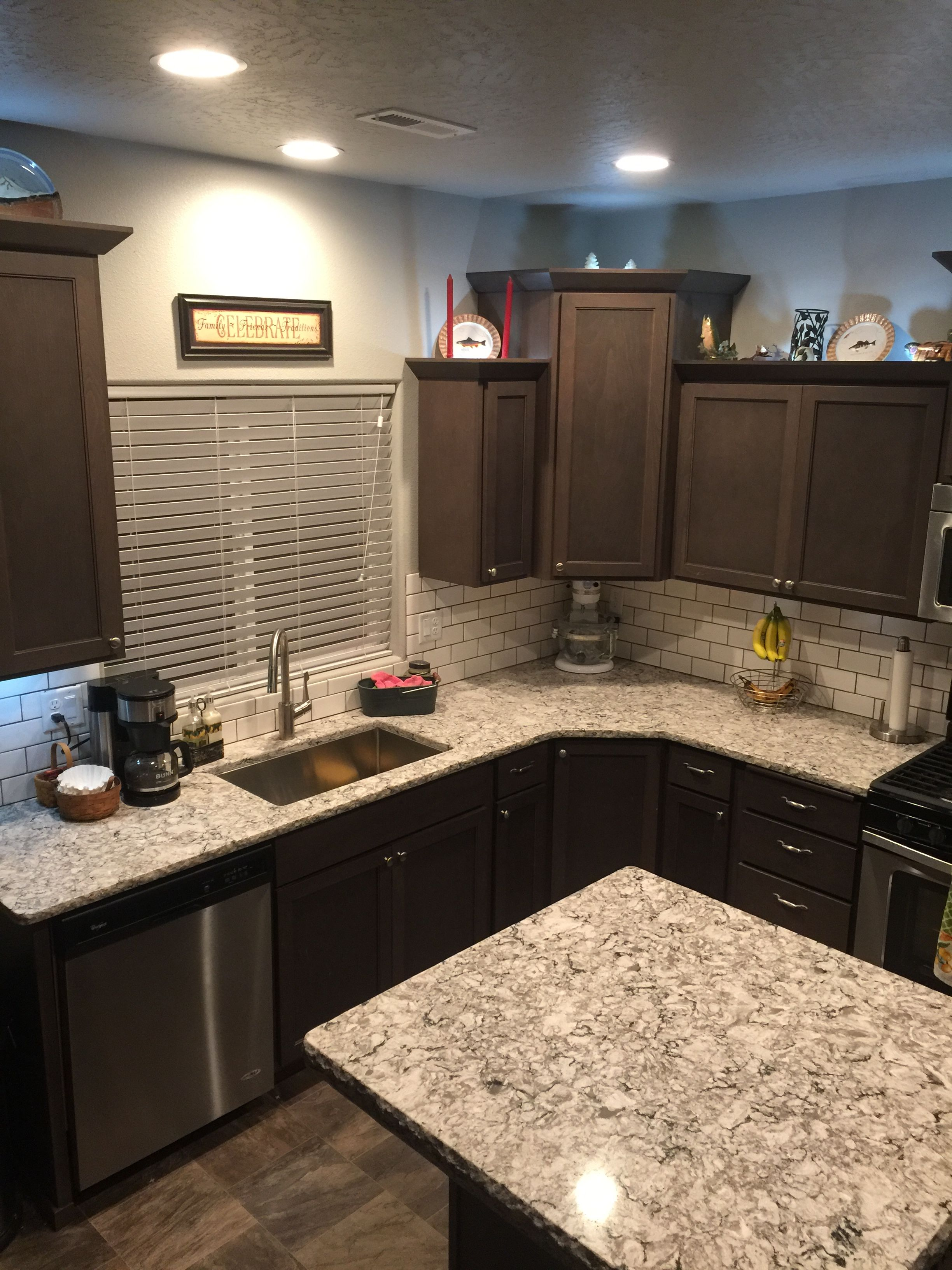 Bellingham Quartz Dark Brown Kitchen Cabinets Brown