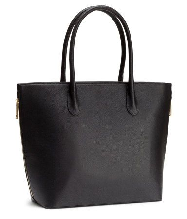cba70d8bf1 Handbag in grained imitation leather with double handles. Zip at top ...