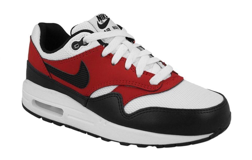 Nike Air Max 1 GS Youth White black Gym Red Blanc 555766 117