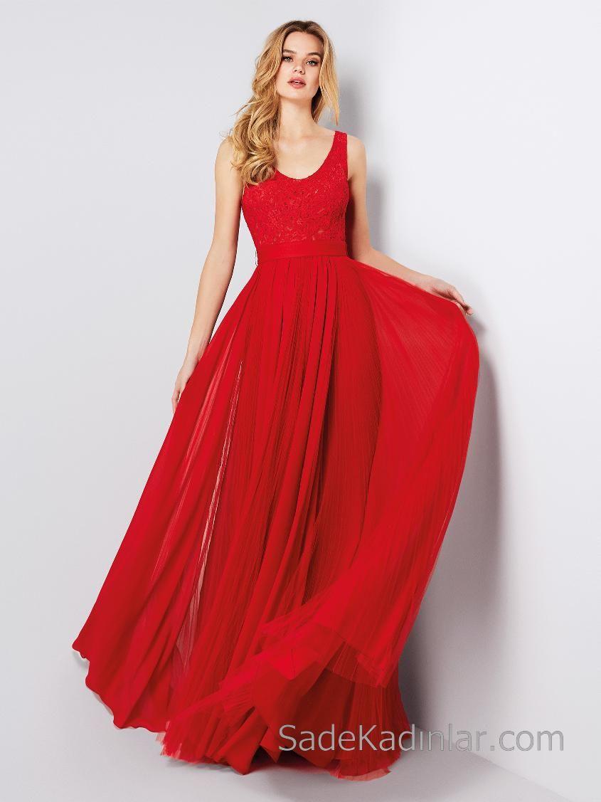 a7ad69735171a Pronovias 2018 Kırmızı Elbise Modelleri Uzun Şifon Dantelli Etekleri Tüllü