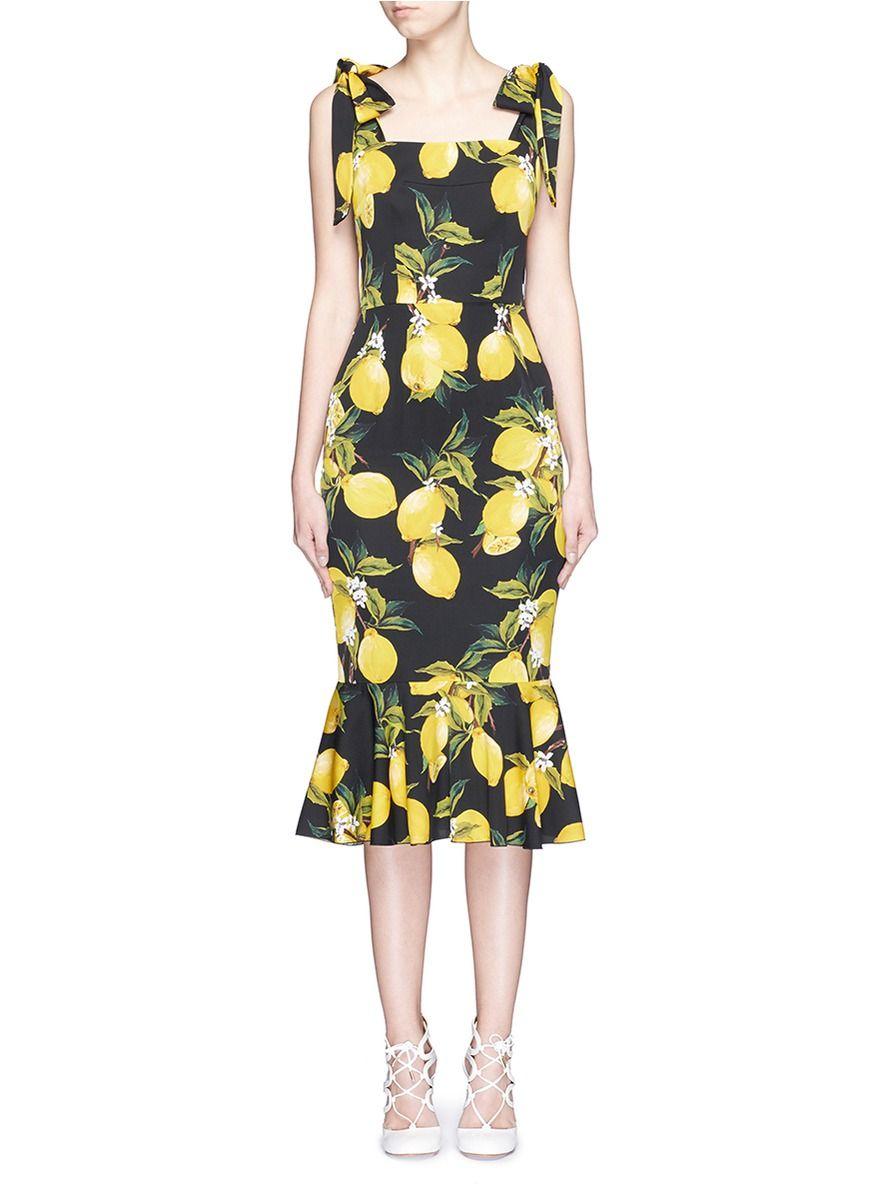 8e0f8be2 DOLCE & GABBANA Lemon Print Silk Fishtail Dress. #dolcegabbana #cloth #dress