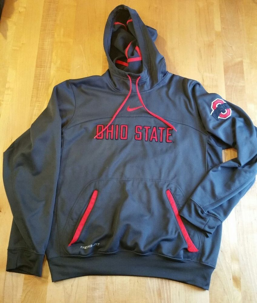 669ffd26a242 Men NIKE Therma-Fit OHIO STATE Hoodie S DARK GRAY w Red Swoosh   OSU Logos  EUC