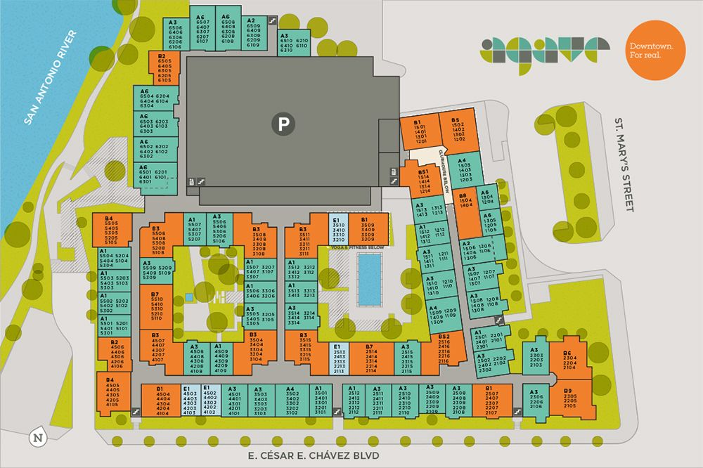 A Layout Of All Units At Agave Apartments In Downtown San Antonio
