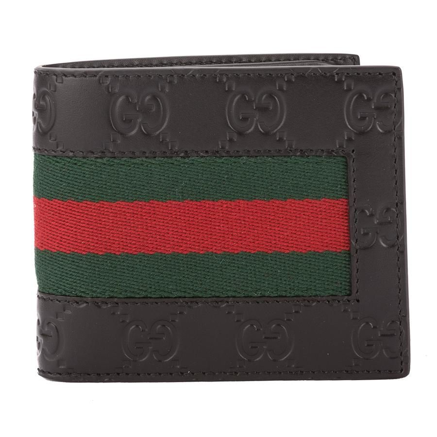 Gucci Black Signature Leather Web Wallet (New with Tags)