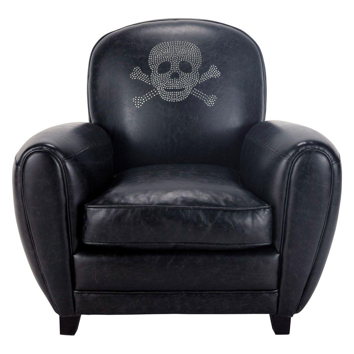 fauteuil aspect cuir noir t te de mort sparrow d co chambre pinterest cuir noir t te de. Black Bedroom Furniture Sets. Home Design Ideas