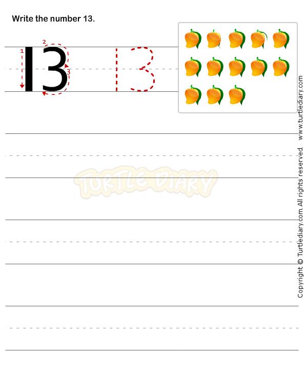 number writing worksheet 13 math worksheets preschool worksheets preschool educational. Black Bedroom Furniture Sets. Home Design Ideas