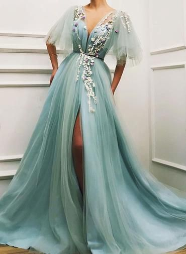 Unique Long Tulle V Neck Lace Cap Sleeve Long Prom Dress, Evening Dress
