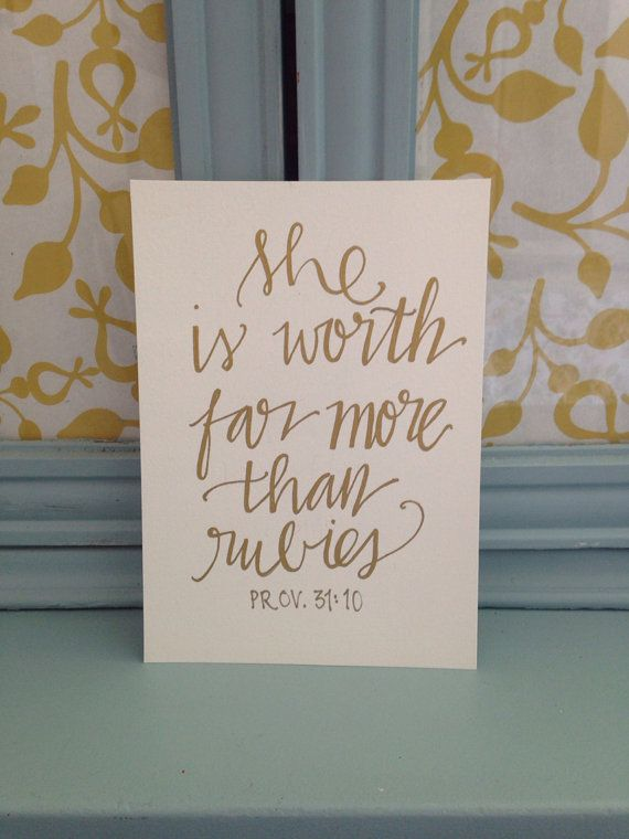 "Just listed! READY TO SHIP:) ""She is worth far more than rubies"" by BeanstalkLoft on Etsy, $15.00"
