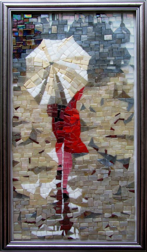 Modern art Woman in red mosaic picture made of glass mosaic