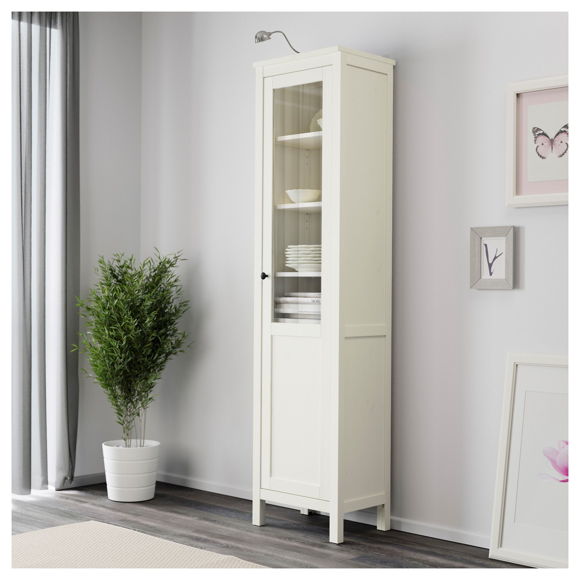 Etonnant IKEA HEMNES Cabinet With Panel/glass Door White Stain 49x197 Cm Solid Wood  Has A Natural Feel.