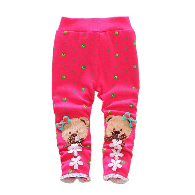 Kids Girls Winter Warm Cotton Leggings Fleece Lined Pant Stretchs Thick Trousers