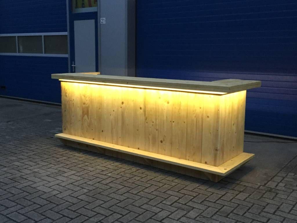 bar balie van steigerhout met een waterproof led verlichting