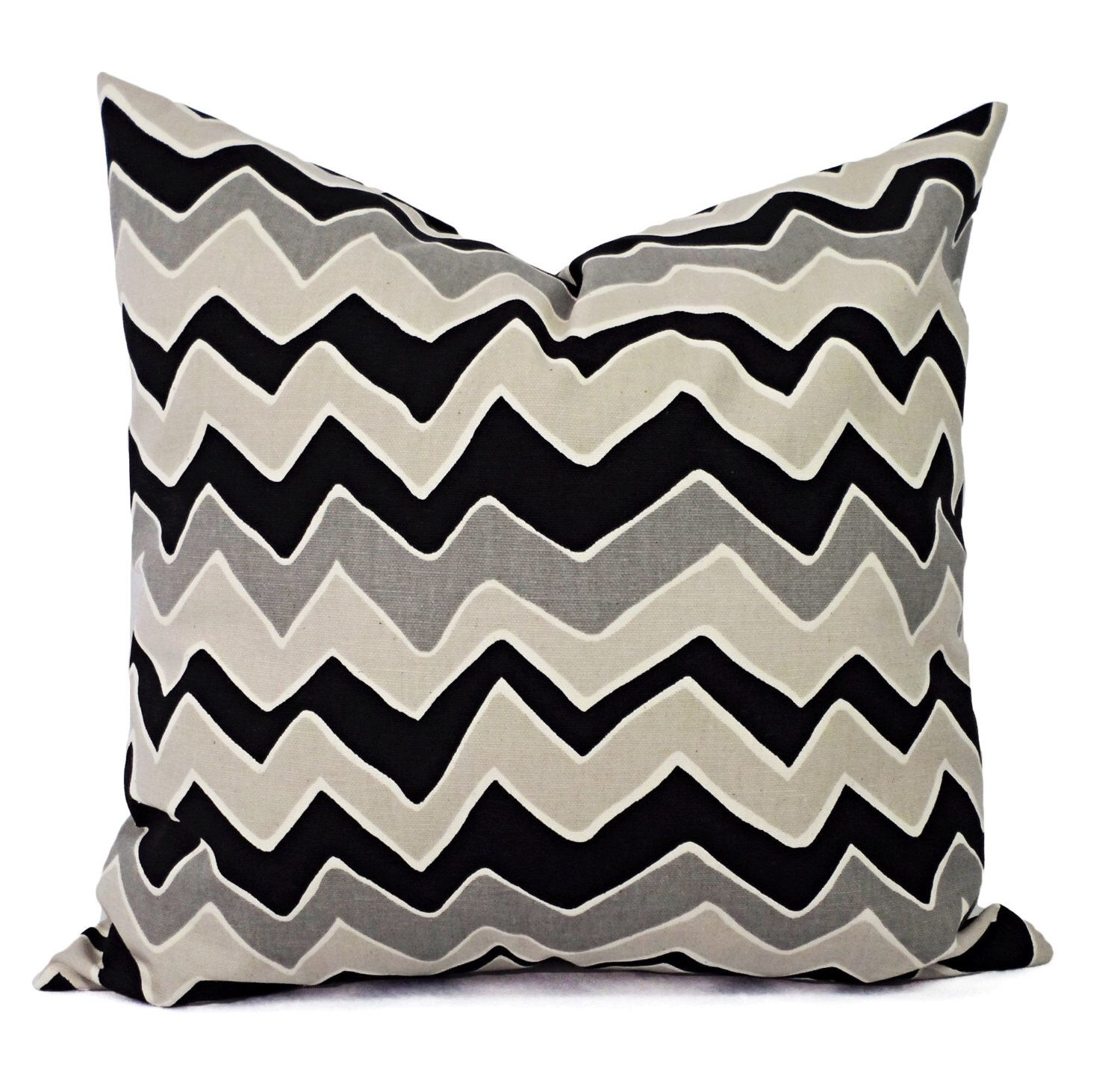 Black Pillow Covers - Two Black Chevron Decorative Pillows - Zigzag Pillow Cover - Accent Pillow - Black Grey and Cream Pillows by CastawayCoveDecor on Etsy https://www.etsy.com/listing/217919187/black-pillow-covers-two-black-chevron