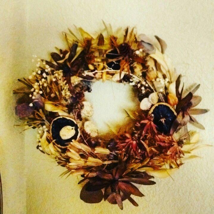 Corona de flores secas y semillas Flores secas Pinterest - flores secas