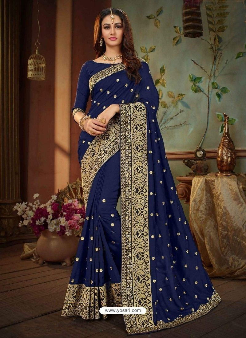 79700505ff Navy Blue Vichitra Silk Heavy Embroidery Designer Saree in 2019 ...