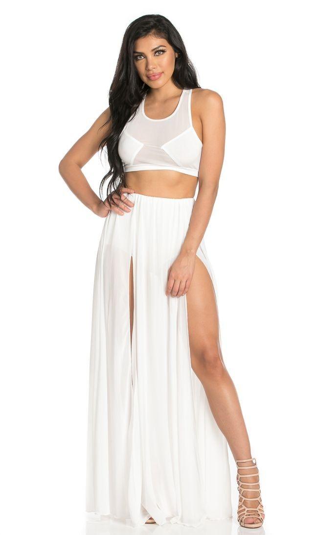 69e76b65404 Double Front Slit Chiffon Maxi Skirt in White  34.99
