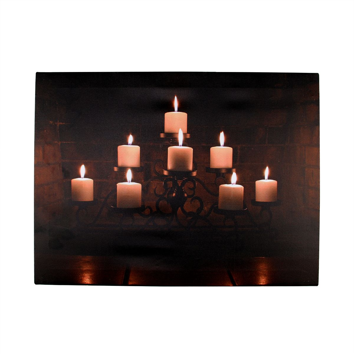 LED Lighted Flickering Rustic Fireplace Candles Canvas ...
