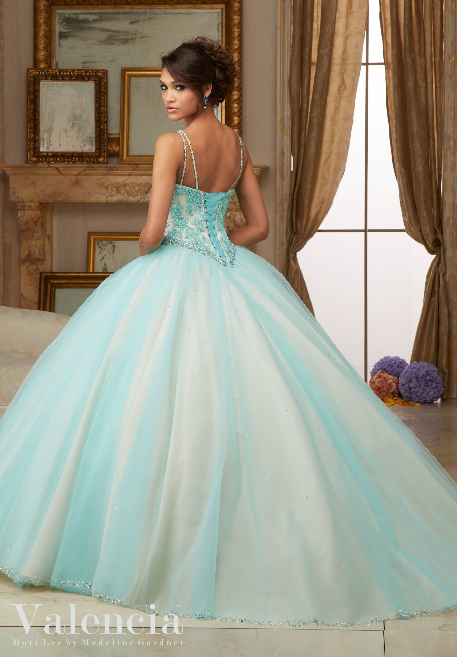 Quinceanera Dress 60002 Beaded Lace Bodice on Princess Tulle Ball ...
