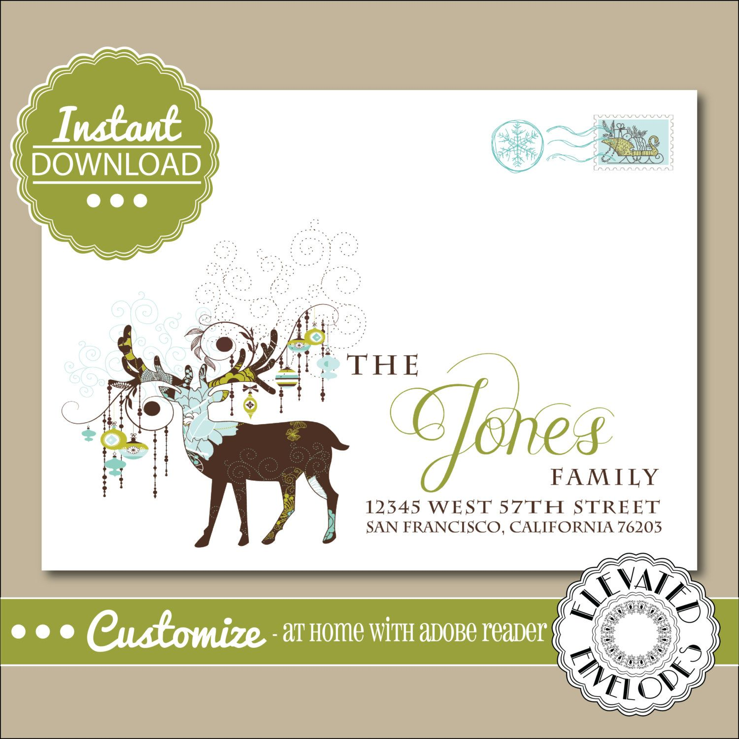 EDITABLE Christmas ENVELOPE Template,Christmas Envelope ADDRESSING,Christmas,Deer,Recipient Addressing,Envelope Addressing,Instant Download by ElevatedEnvelopes on Etsy