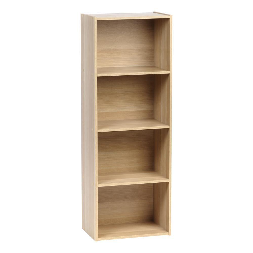 Iris 4 Tier Light Brown Wood Storage Shelf