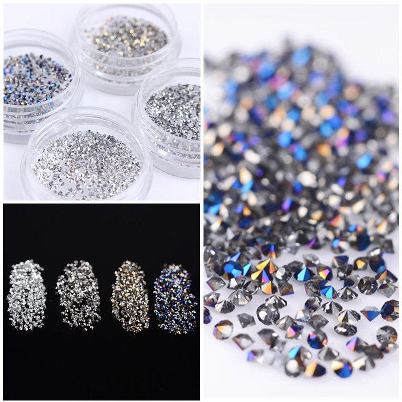300 shining unids/bolsa micro rhinestone 1.2mm sharp inferior 3d manicura nail art decoración accesorios