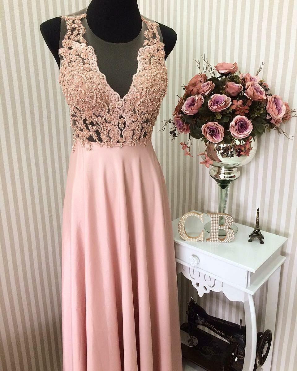 8a0a9d87e Vestido longo rosa chá. Saia gode com ilusione e renda pedraria ...