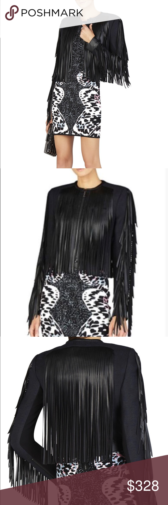 BCBGMAXAZRIA Farrell fringe trim jacket Statement making jacket with alluring fringe movement. Round neck, front zipper closure, hits at the waist. Measures approx. 19.5 in. Shoulder to hem. Faux leather detailing, spandex tweed body, polyester lining. Hand wash. BCBGMaxAzria Jackets & Coats Blazers