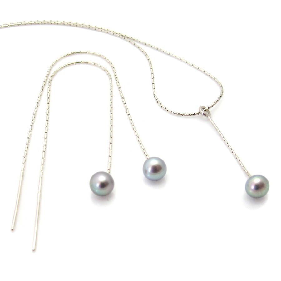 Pearl pendant and pull through earrings jewellery set in