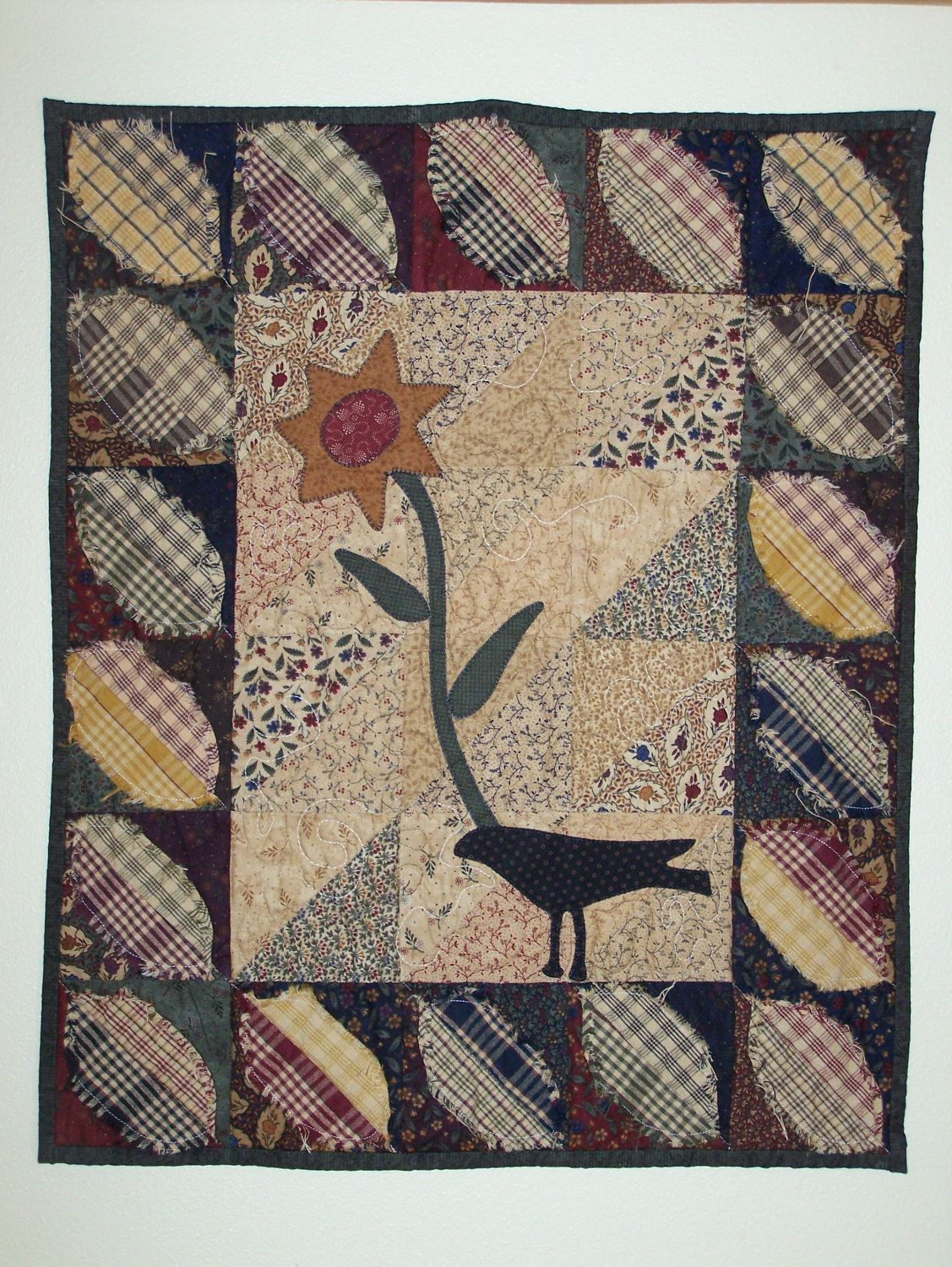 primitive crow sunflower appliqued wall hanging quilt moda