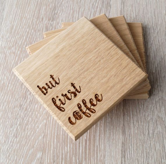 Wooden coasters solid wood drink or coffee by for Homemade coaster ideas
