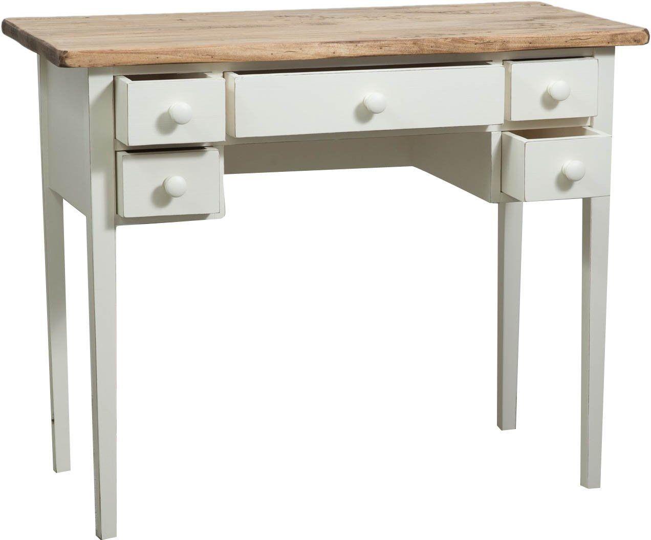 tavolino scrittoio in legno massello di tiglio struttura bianca anticata piano finitura naturale 100x48x80 cm