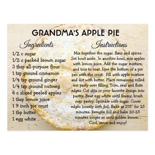 Grandma's Apple Pie Day Recipe Card