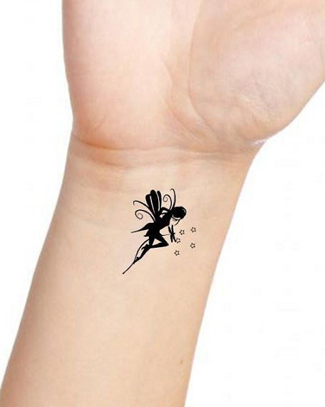 Bat Tattoo With Tiny Stars Fairy Silhouette Tattoo Image Result For Dandelion And Dragonfly Tattoo Fairy Tattoo Tattoo Designs Wrist Small Fairy Tattoos