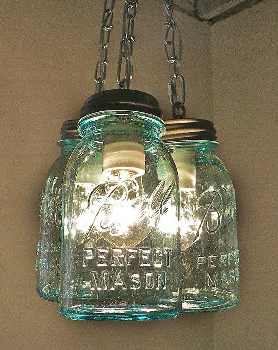 Green Mason Jar Pendant Lights Handcrafted Blue Green Vintage Mason Three Jar Pendant Light Mason Jars Jar Pendant Light Mason Jar Lighting