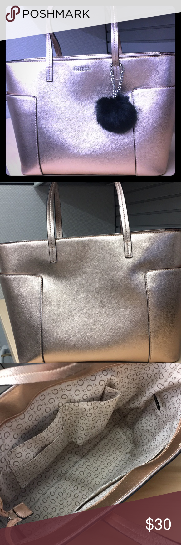 ed11c7076f5 Rose Gold Guess Tote Very pretty rose gold Guess tote bag. It s rose like in