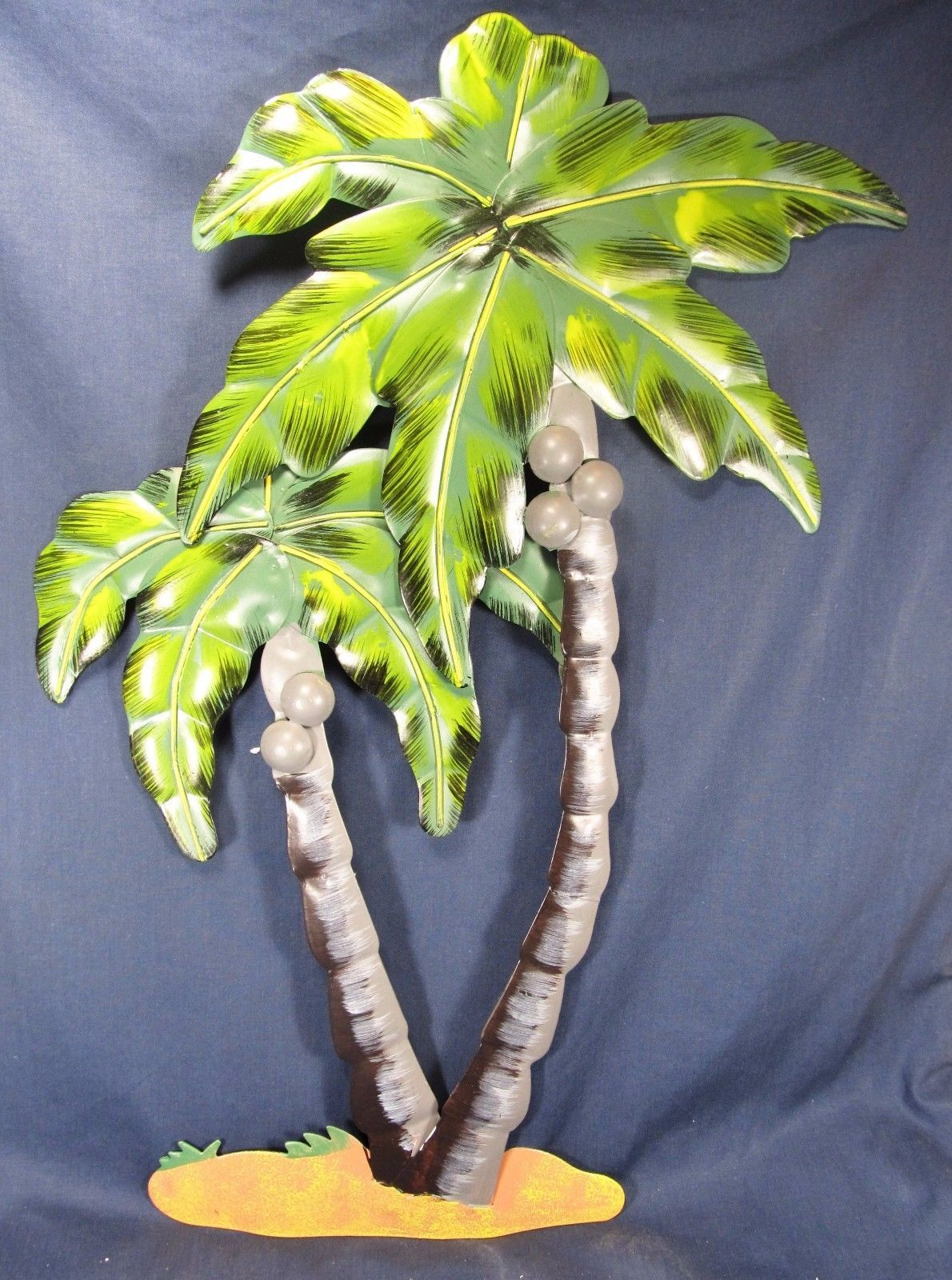 Palm trees with coconuts hand painted metal wall art tropical decor
