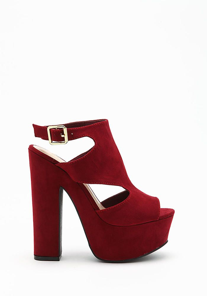 Burgundy Platform Heels
