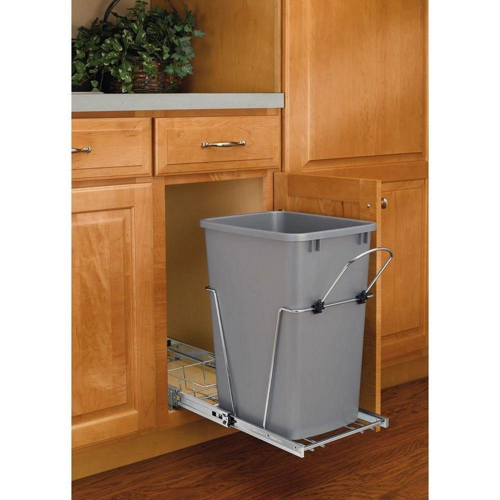 Pull Out 35 Quart Single Bin Kitchen Slide Out Garbage Trash Waste