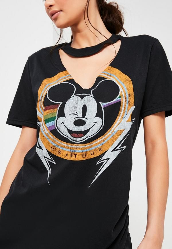 b0543c75770 Black Mickey Mouse V Neck Cut Out T Shirt