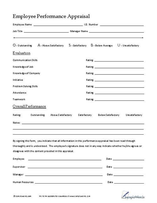 Merveilleux Printable Employee Performance Appraisal Form Is Small Business Form For  Personnel And Hiring Managers