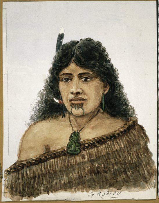 Horatio Gordon Robley 1840-1930: Maori woman. Shows a young Maori woman with a moko on her chin and tiki around her neck.