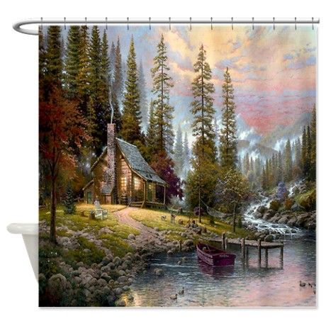 Old Log Cabin Shower Curtain Thomas Kinkade Paintings Kinkade
