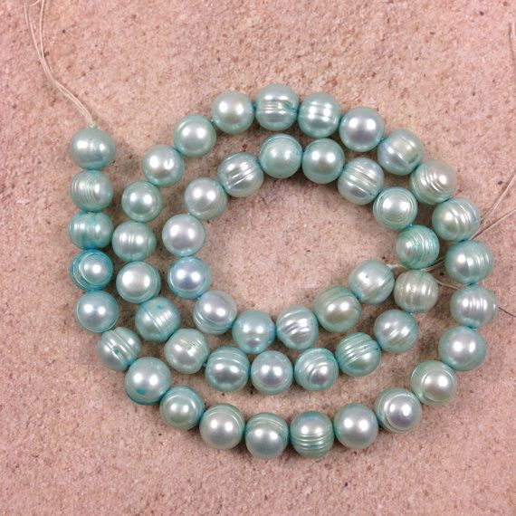 Light Blue Freshwater Pearls 16 inch strand 8  by marketplace beads Awesome bead shop!  www.marketplacebeads.etsy.com