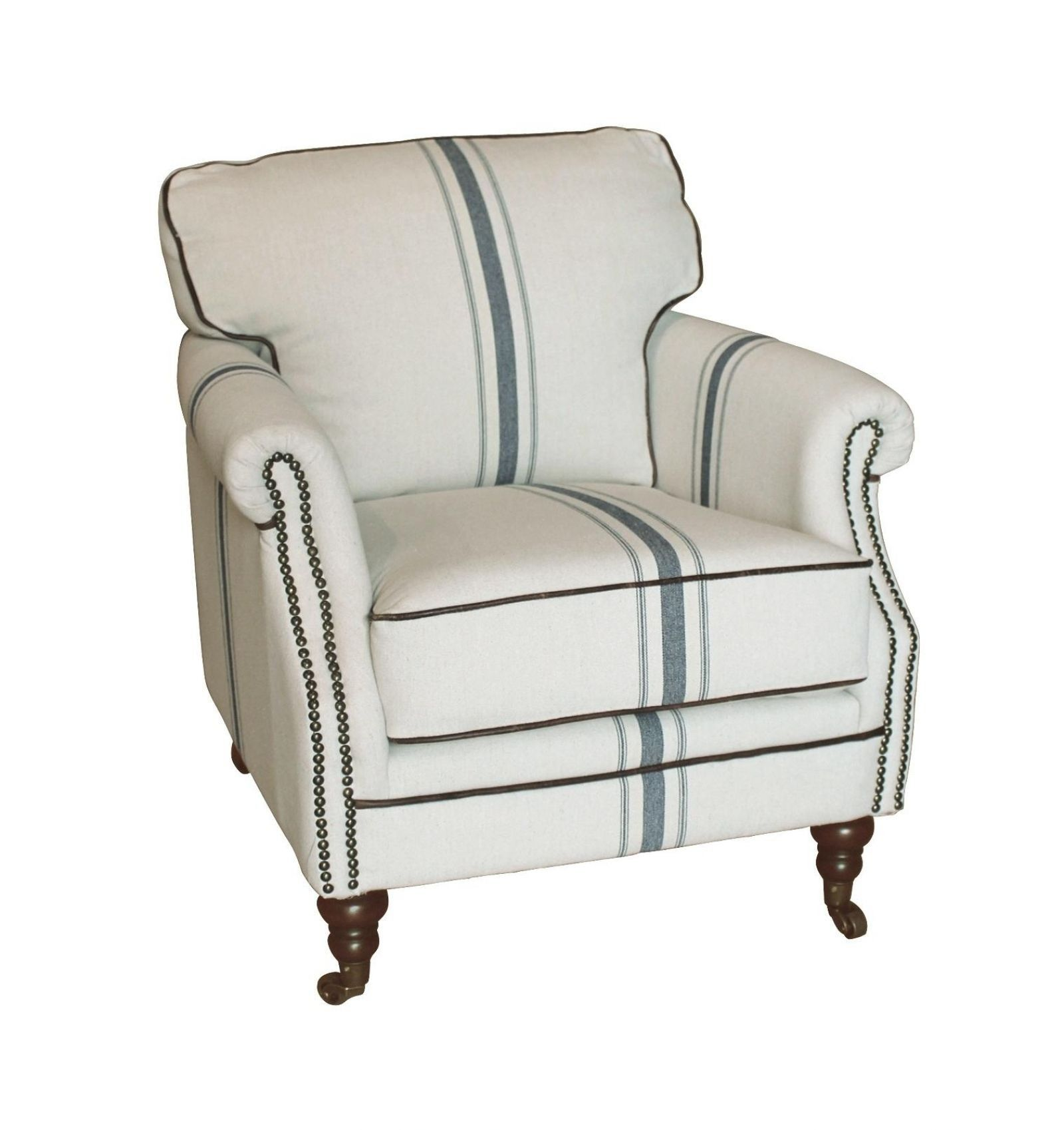 Best Camilla Accented Striped Gray Club Chair Blue Accent 400 x 300