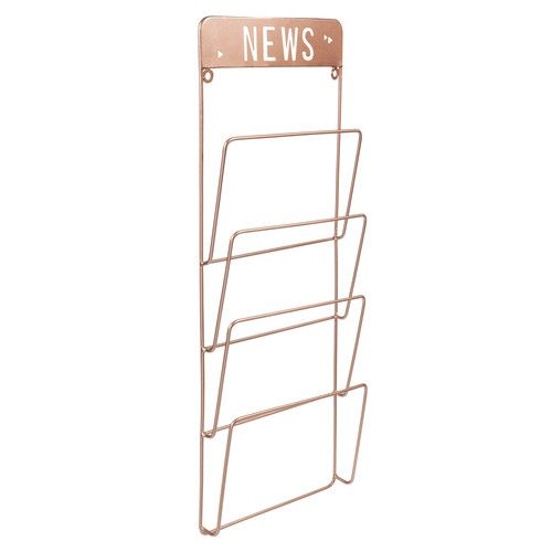 porte revues mural en m tal cuivr h 65 cm copper news. Black Bedroom Furniture Sets. Home Design Ideas