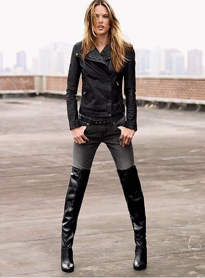 7fe69232 black overknee boots, black jacket | Girls shoes, sneakers, heels ...
