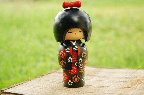Vintage 80s 90s Japanse houten Kokeshi pop Peg Doll Geisha Aziatische Retro Boho