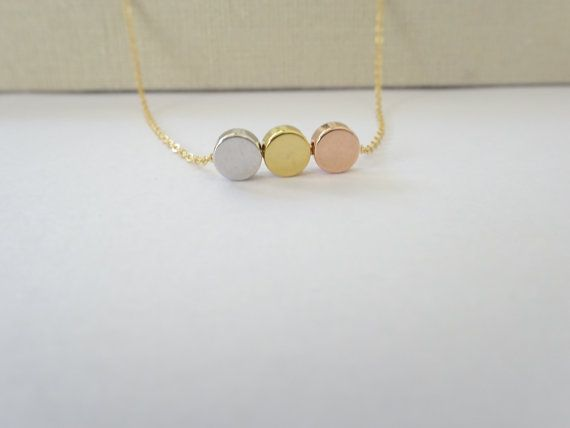 DOT Halskette Silber Gold & Rose Gold Kreis von LAminiJewelry